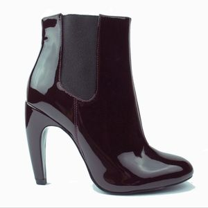 ZARA Burgundy Patent Leather Ankle Boots